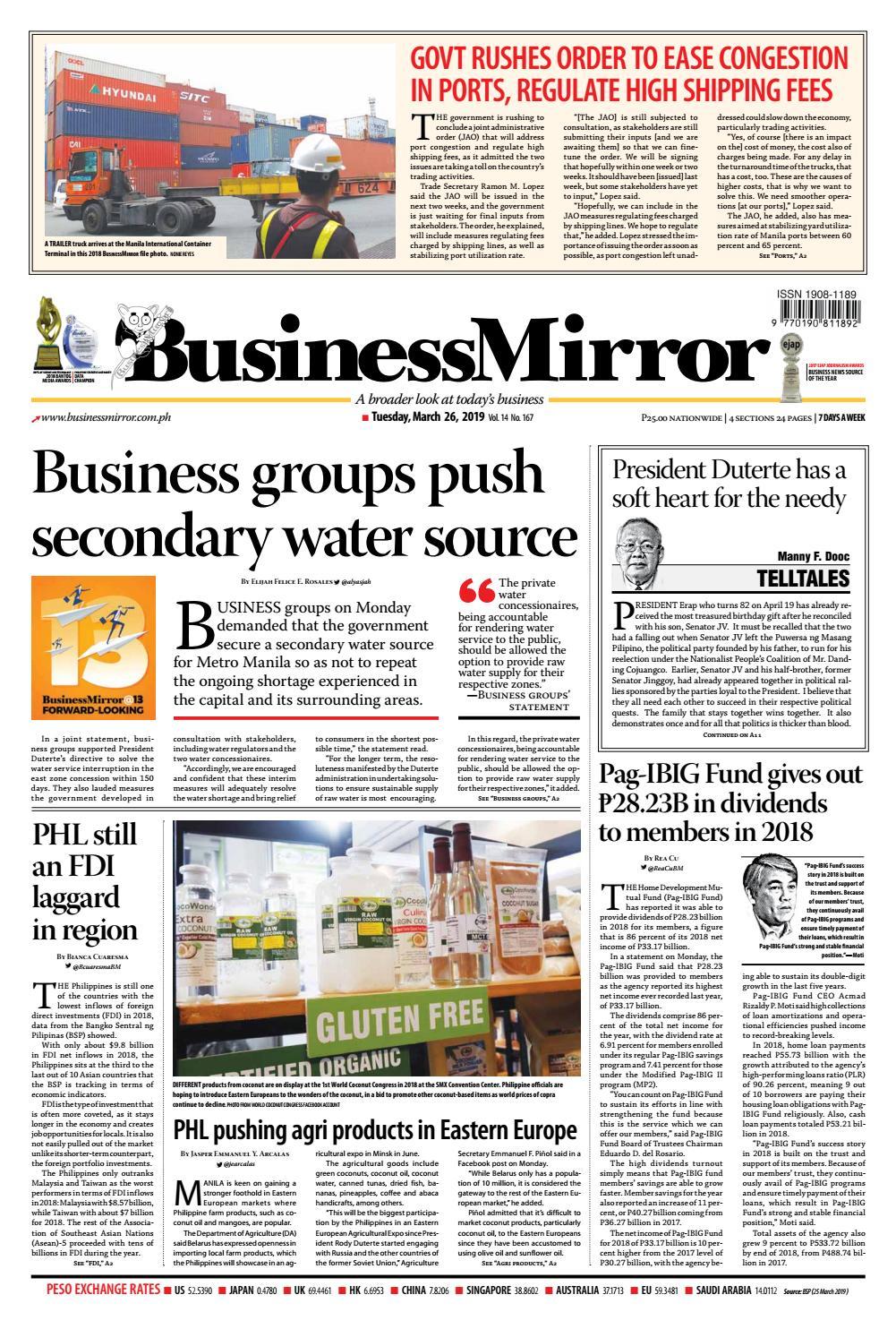 BusinessMirror March 26, 2019 by BusinessMirror - issuu