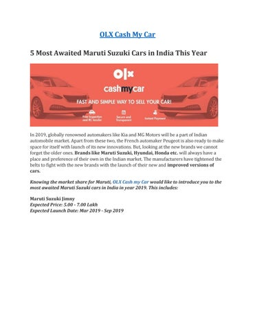 5 most awaited Maruti Suzuki cars in India this year by Sell