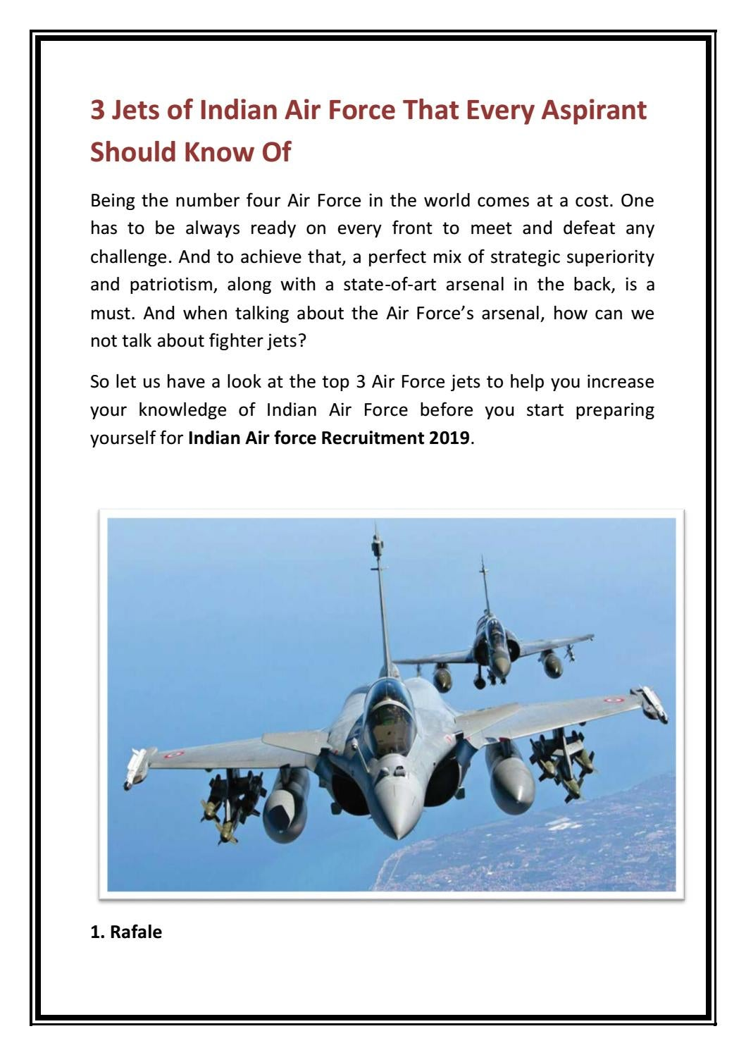 3 Jets of Indian Air Force That Every Aspirant Should Know