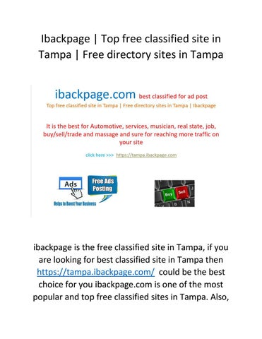 Ibackpage | Top free classified site in Tampa | Free directory sites