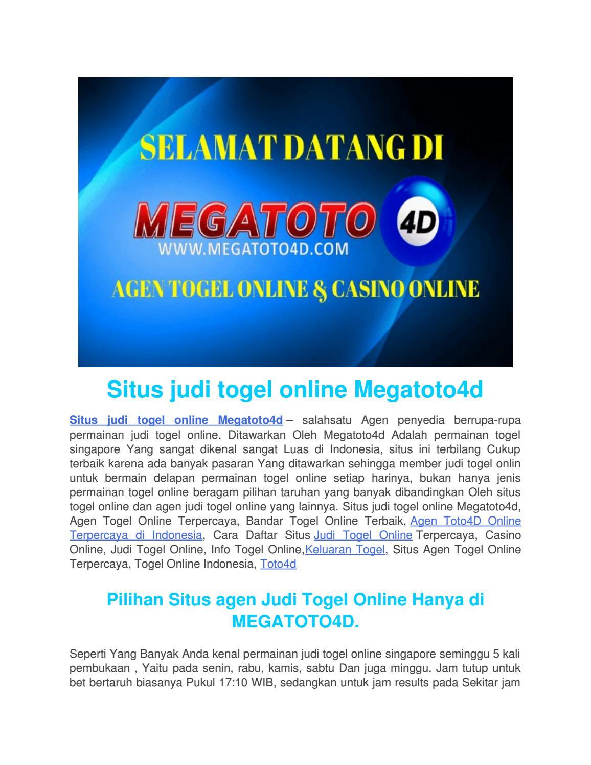 Situs Judi Togel Online Megatoto4d By Bolakominfo Club Issuu