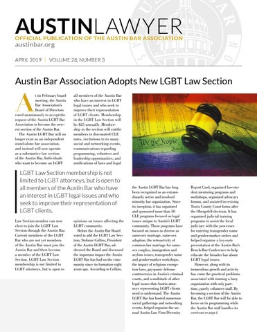 Page 1 of Austin Bar Association Adopts New LGBT Law Section