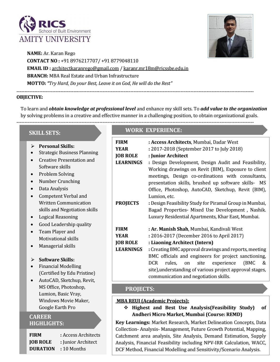 Resume Rules 2017.Job Resume Ar Karan Rego Mba Reui Rics Sbe Amity