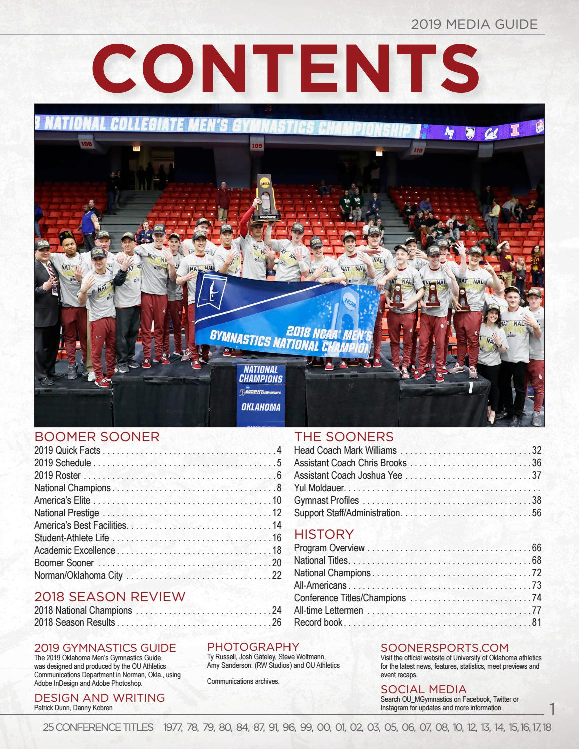 2019 Ou Men S Gymnastics Media Guide By Ou Athletics Issuu