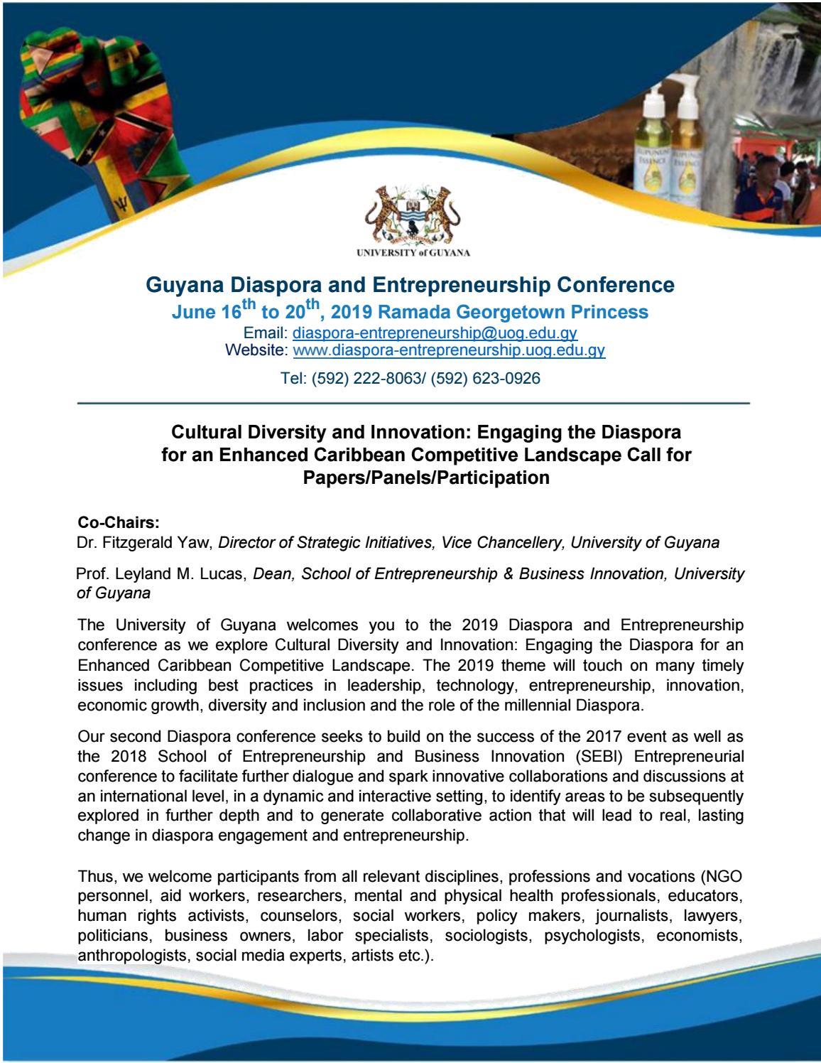 Guyana Diaspora and Entrepreneurship Conference by Guyana