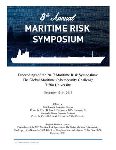 2017 Maritime Risk Symposium Proceedings The Global