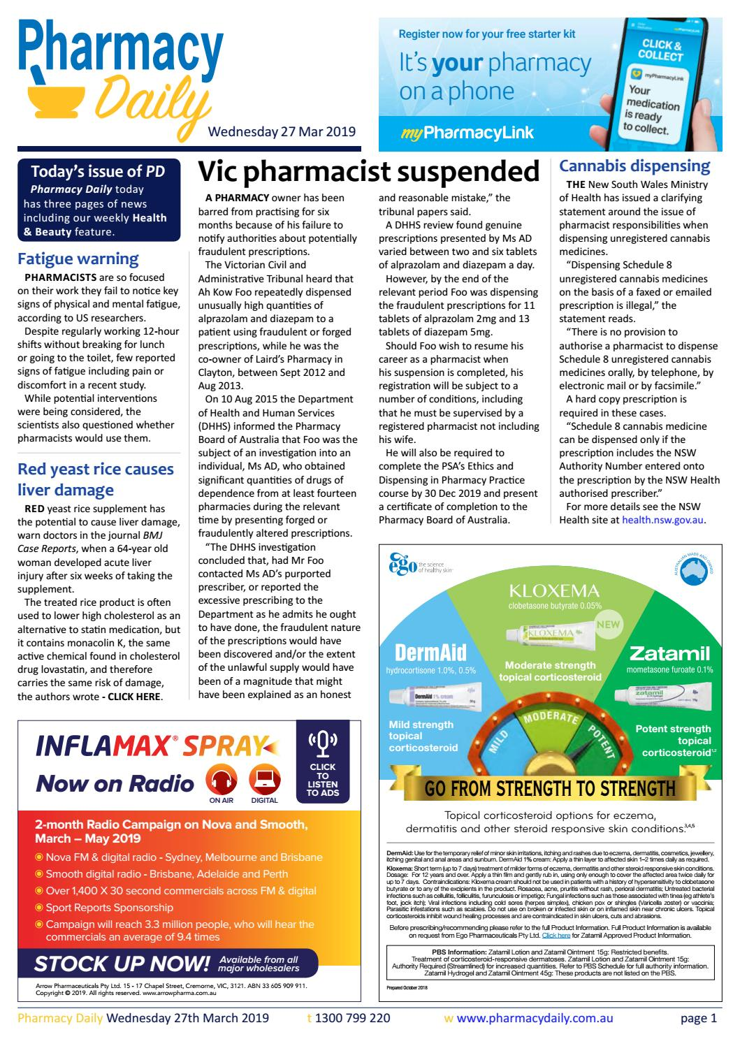 PD for Wed 27 Mar 2019 - Vic pharmacist suspended, Don't