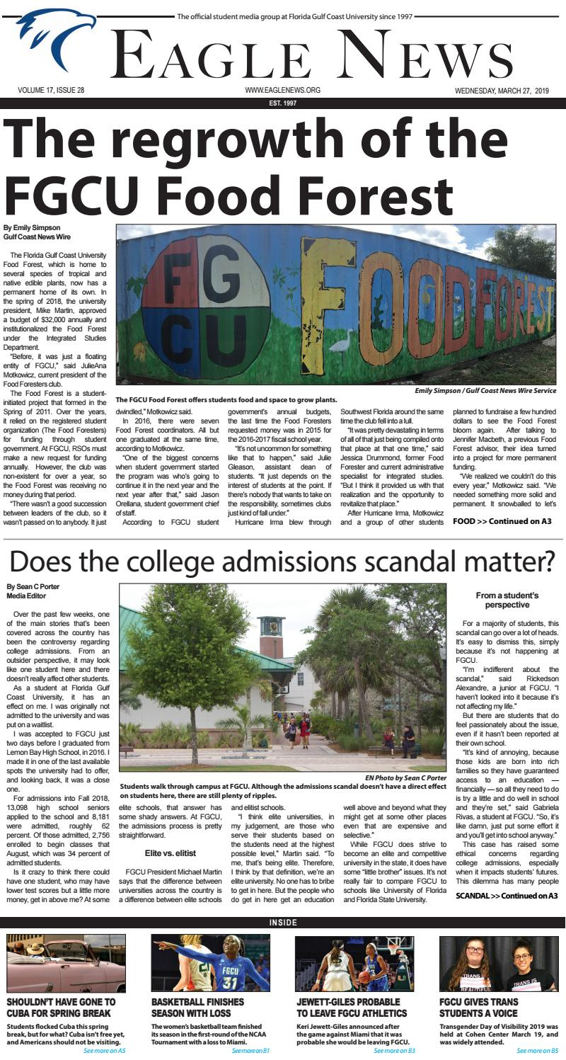 Fgcu Schedule Spring 2020.Volume 17 Issue 28 By Eagle News Issuu