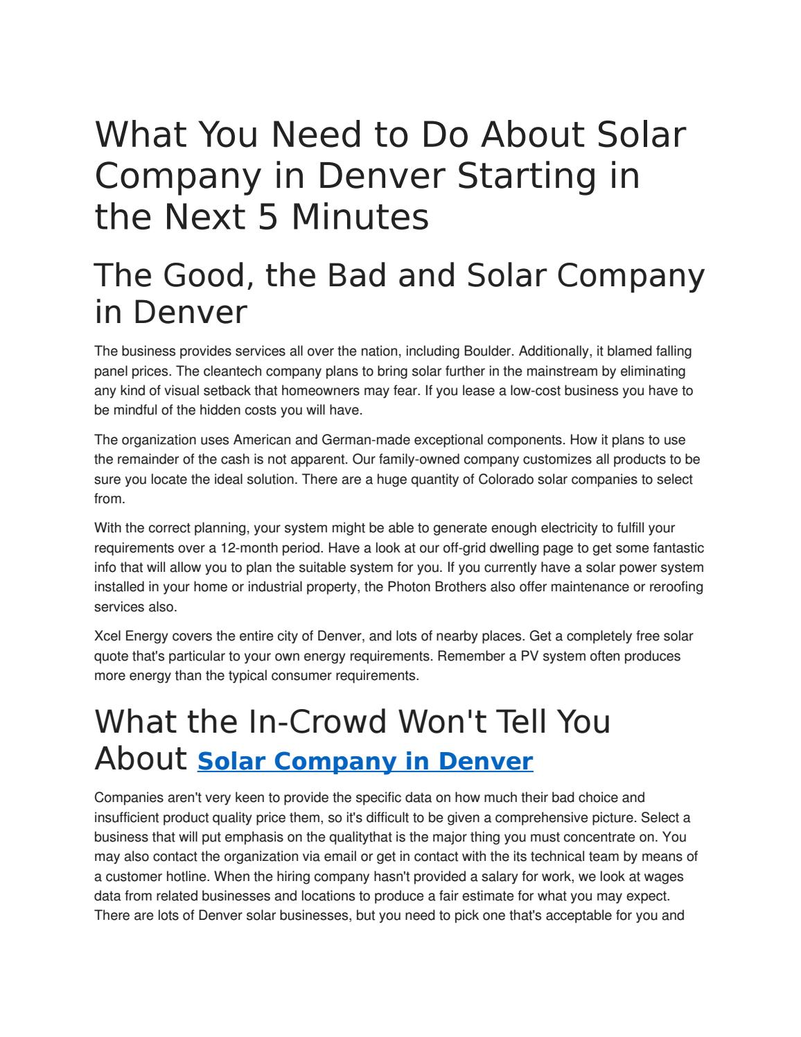 What You Need to Do About Solar Company in Denver Starting