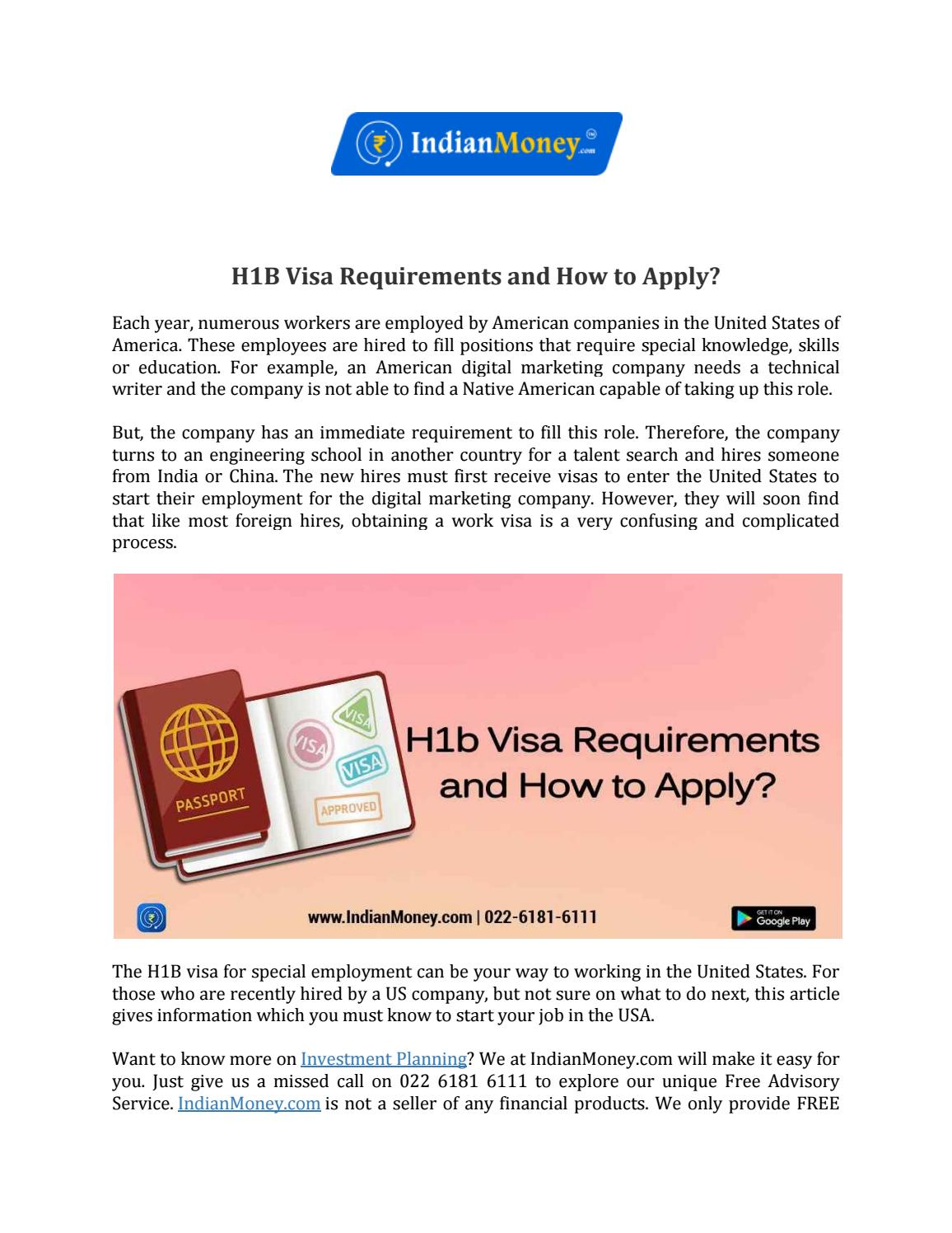 H1B Visa Requirements and How to Apply? by bhaskarnitish007
