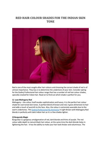 RED HAIR COLOUR SHADES FOR THE INDIAN SKIN TONE by Anuradha ...