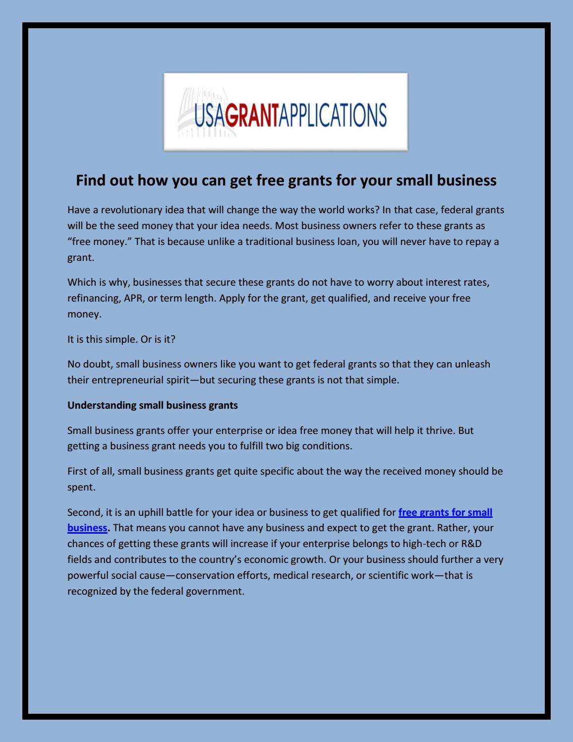 Find out how you can get free grants for your small business