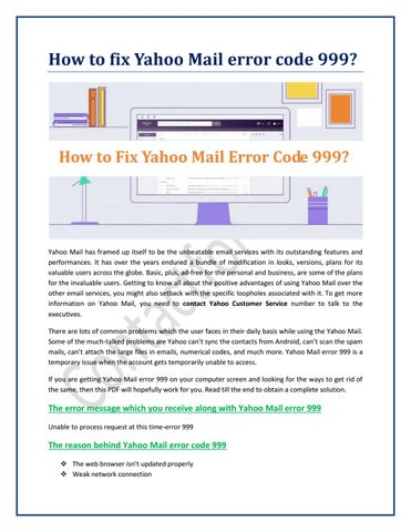 How to fix Yahoo Mail error code 999? by contactforemail - issuu