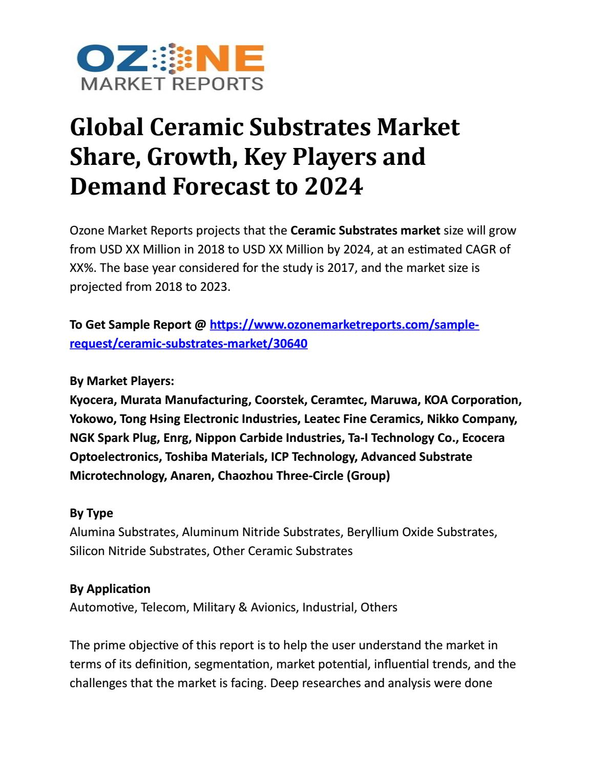 Global Ceramic Substrates Market Share, Growth, Key Players and