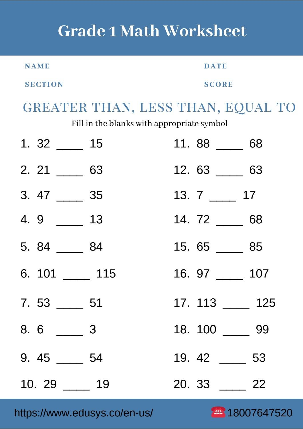 1St Grade Math Worksheets Printable Free Pdf By