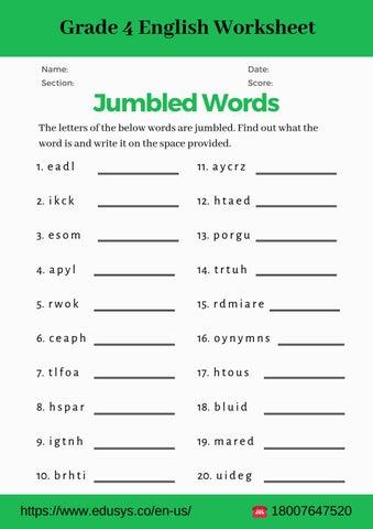 4th grade english vocabulary worksheet pdf by nithya - Issuu