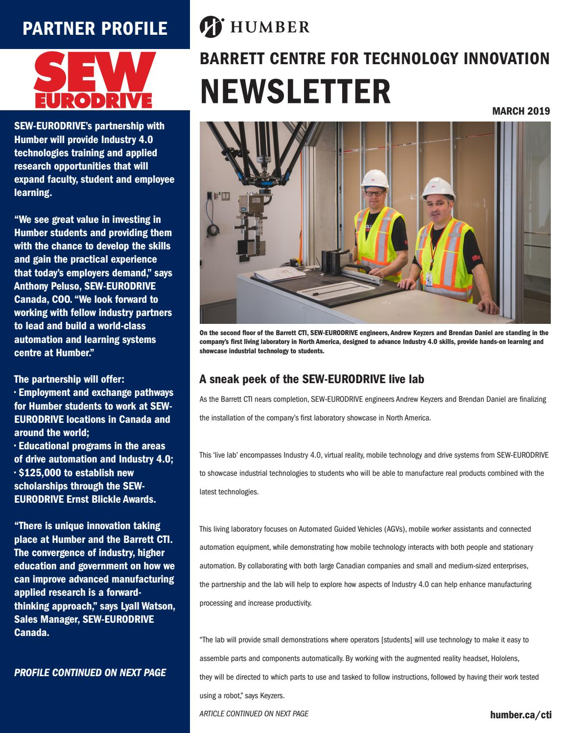 Barrett CTI Newsletter - March 2019 by Humber College Applied