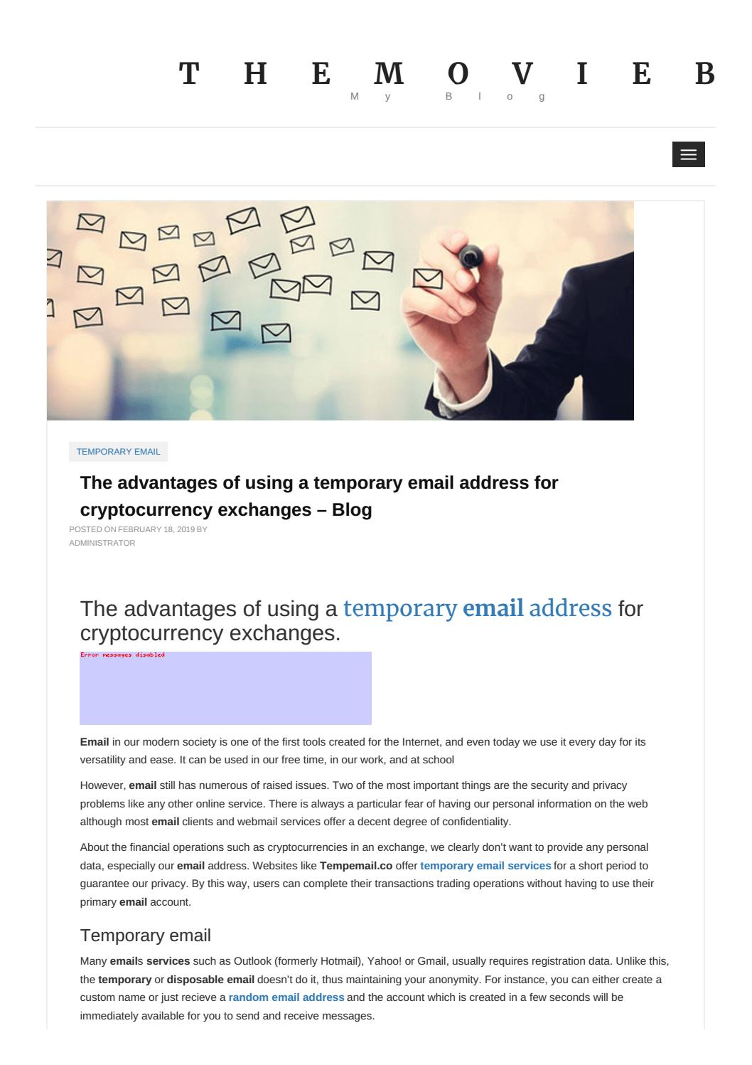 The advantages of using a temporary email address for cryptocurrency