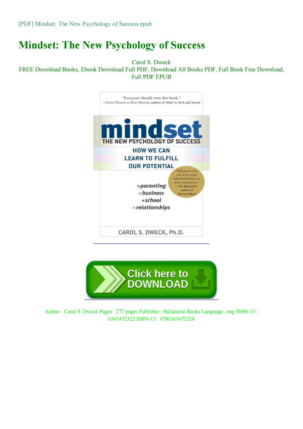 Pdf Mindset The New Psychology Of By Kienwells Issuu
