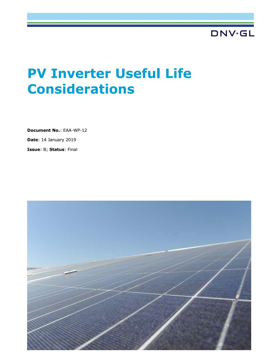 Pv Inverter Useful Life Considerations By Dnv Gl Issuu