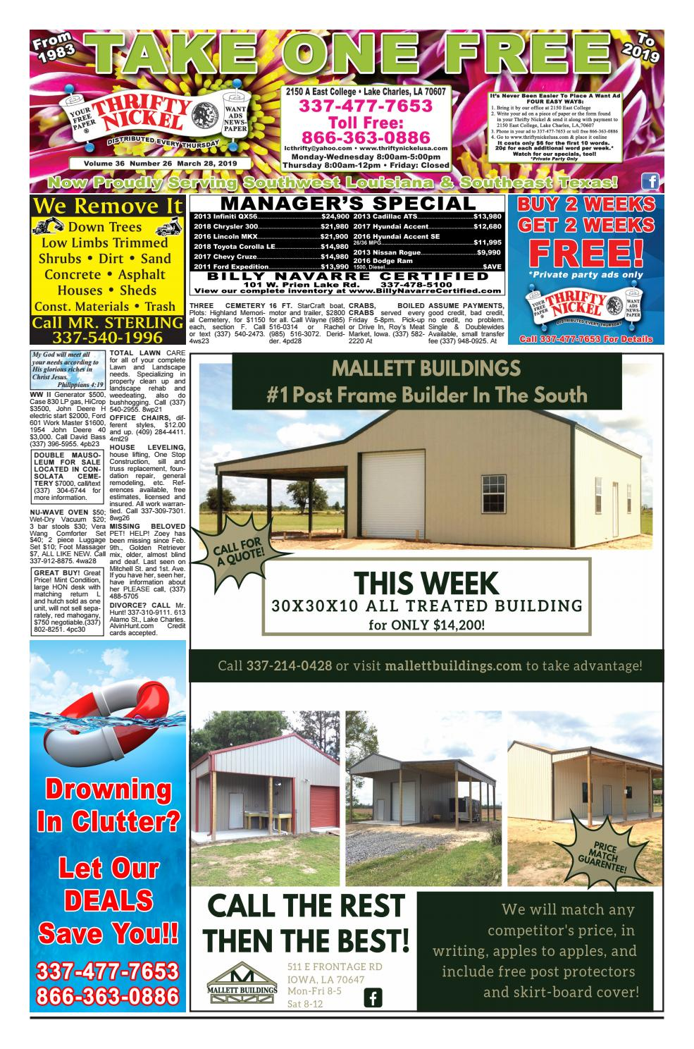 March 28, 2019 Edition of the Lake Charles Thrifty Nickel by ... on