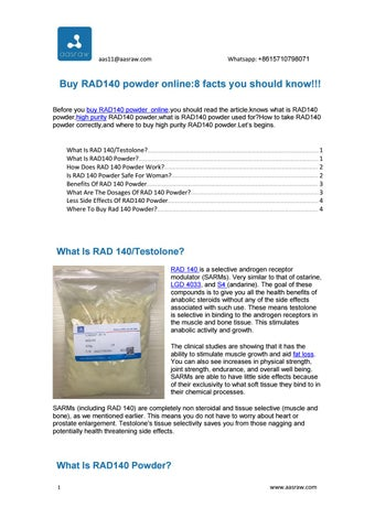 Buy RAD140 powder online:8 facts you should know!!! by Steroid