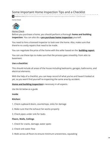 Some Important Home Inspection Tips and a Checklist by
