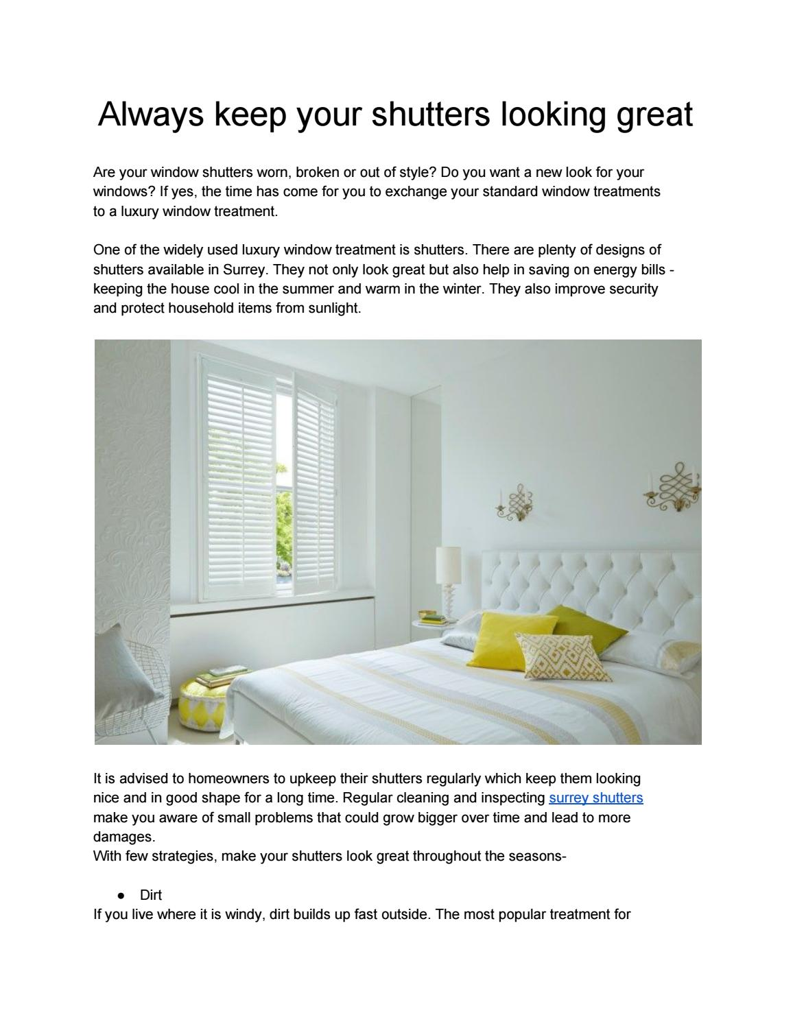Always Keep Your Shutters Looking Great By Stablesamy26 Issuu