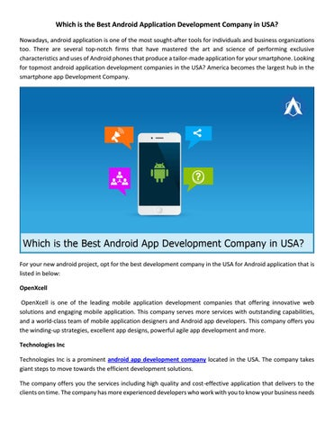 Which Is The Best Android Application Development Company in