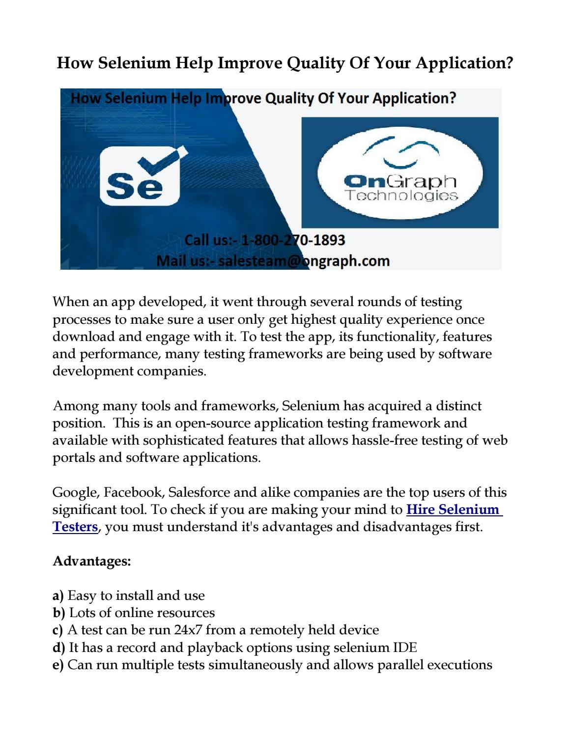 How Selenium Help Improve Quality Of Your Application? by