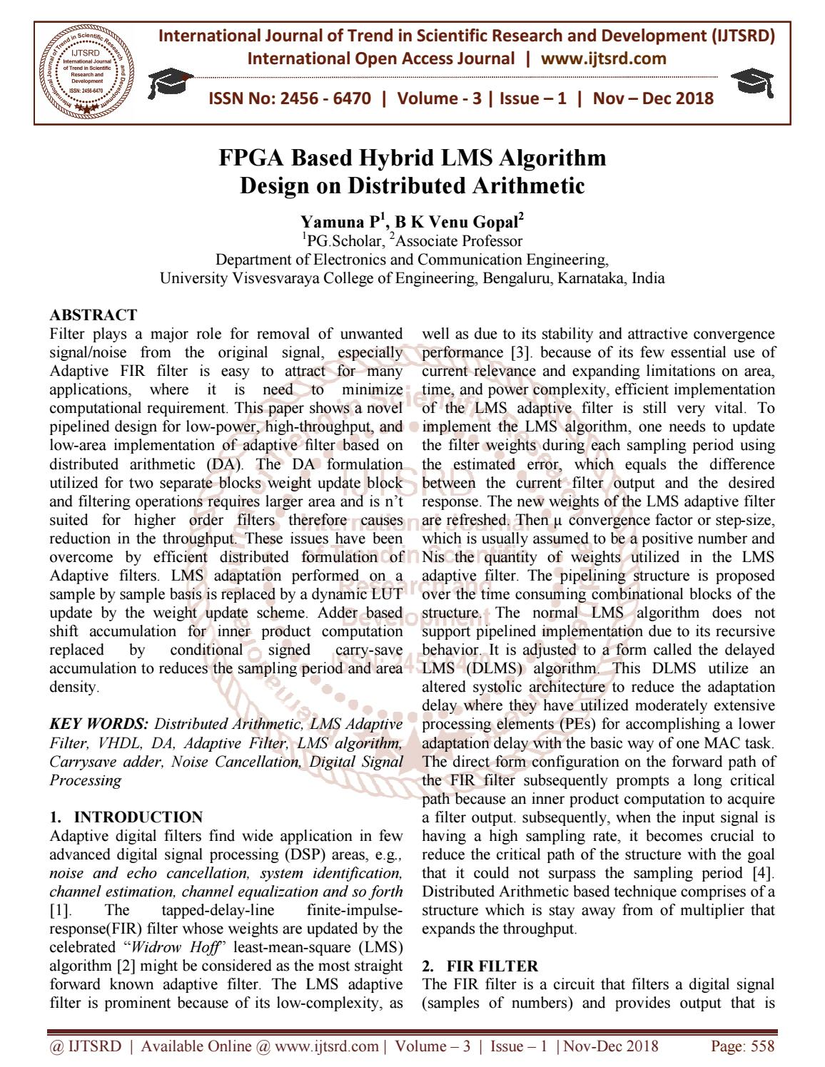 FPGA Based Hybrid LMS Algorithm Design on Distributed Arithmetic