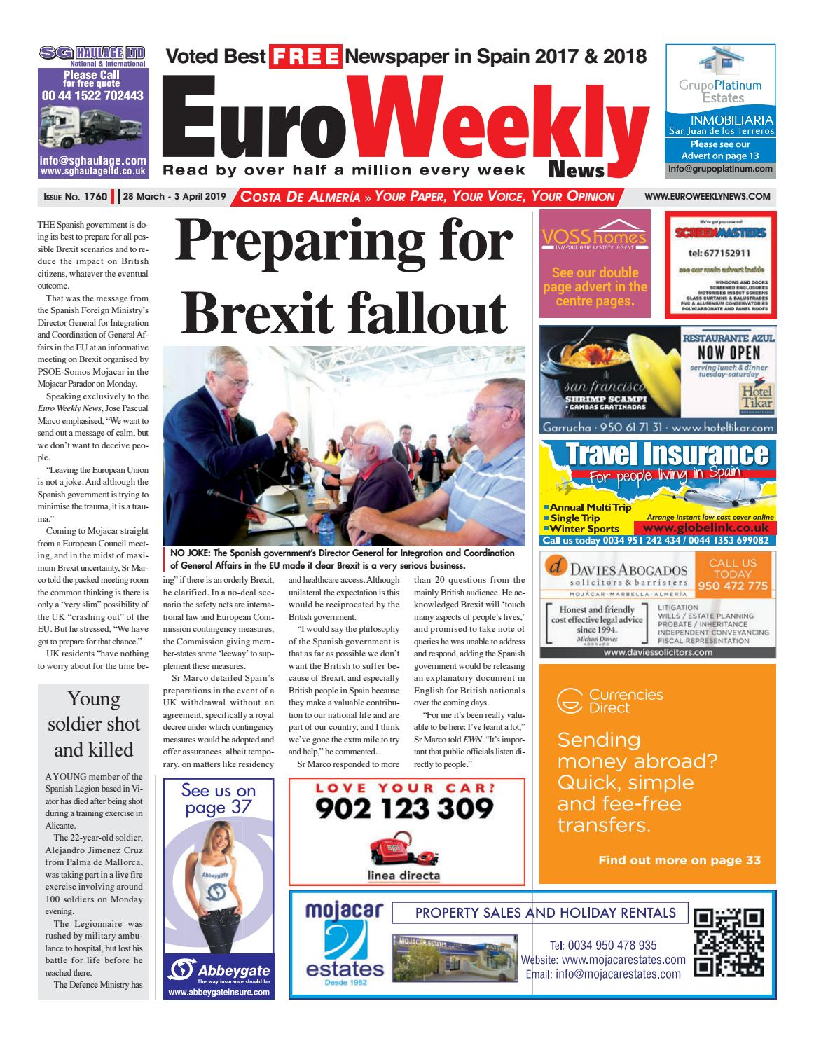 1c2a4c2ca9 Euro Weekly News - Costa de Almeria 28 March - 3 April 2019 Issue 1760 by  Euro Weekly News Media S.A. - issuu