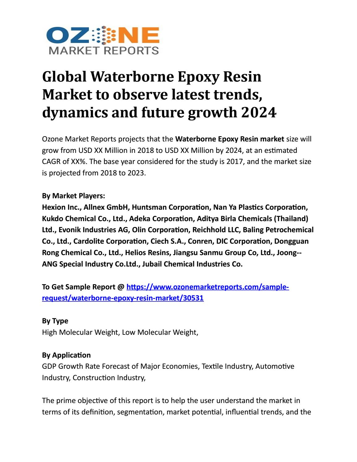 Global Waterborne Epoxy Resin Market to observe latest