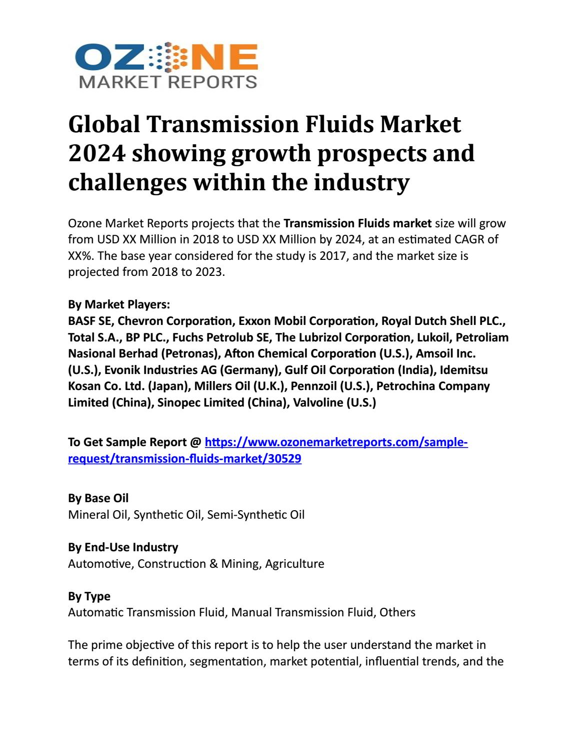 Global Transmission Fluids Market 2024 showing growth