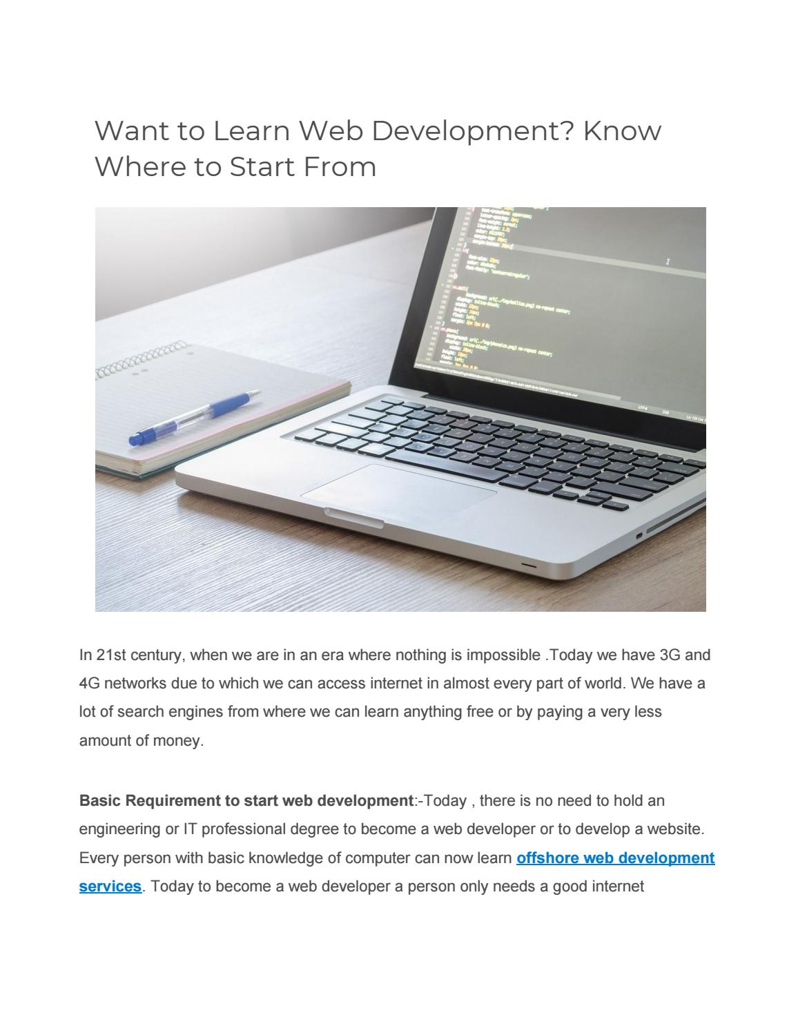 Want To Learn Web Development Know Where To Start From By D Amies Technologies Pvt Ltd Issuu