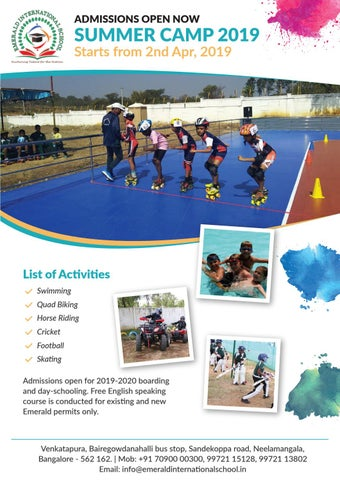 Gymnastics Summer Camps 2020.Emerald International School Summer Camp 2019 By Emarald