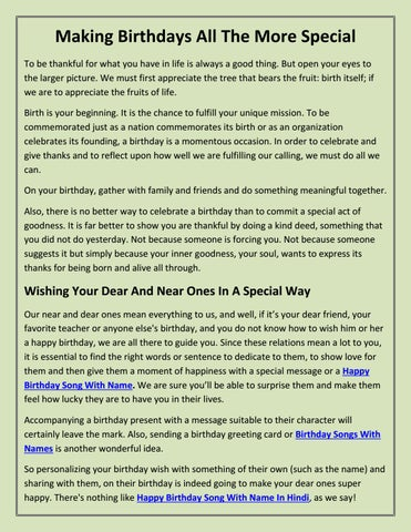 Making Birthdays All The More Special by Birthday Songs - issuu