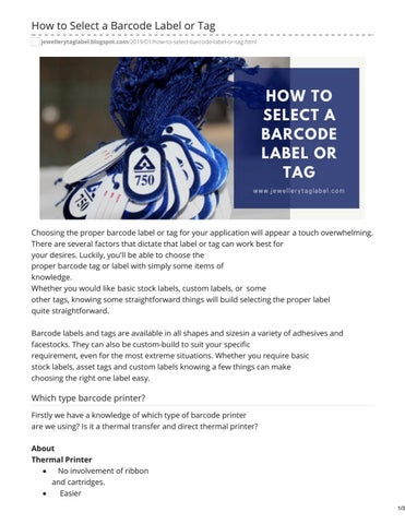 How to Select a Barcode Label or Tag by NLLabelwala - issuu