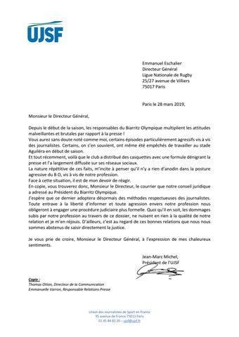 Courrier UJSF - Mise en demeure by journal sudouest - issuu