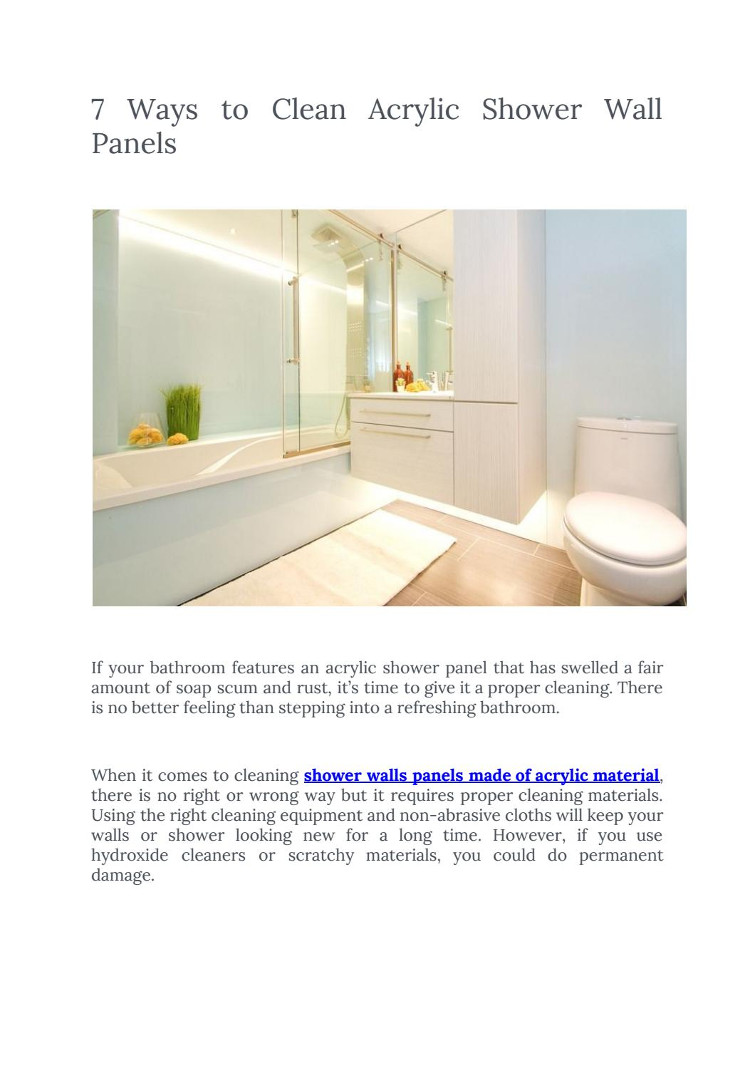 7 Ways To Clean Acrylic Shower Wall Panels By Sheet Plastics Issuu