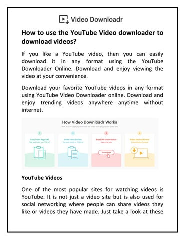How to use the YouTube Video downloader to download videos? by