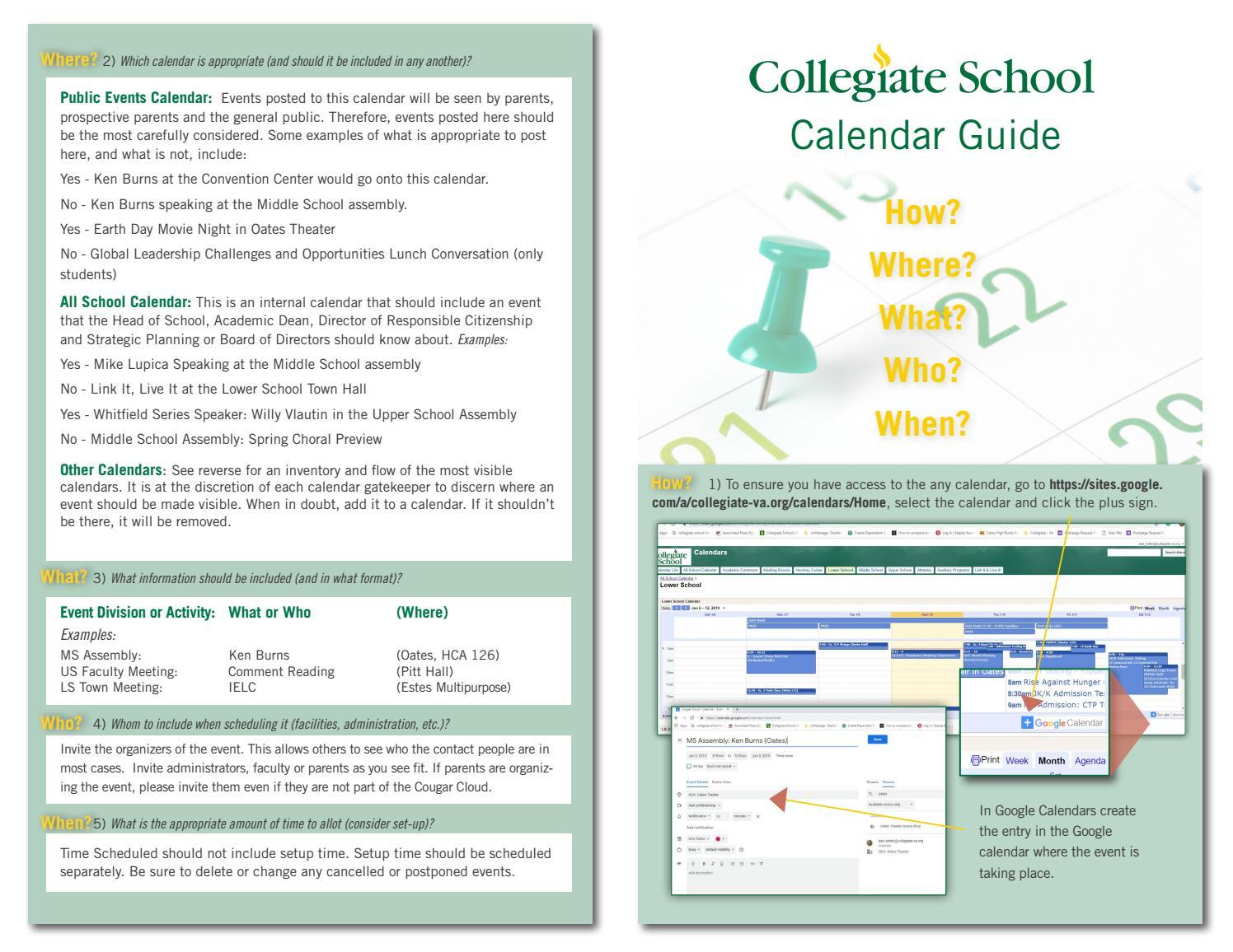 Pitt Academic Calendar.Calendar Governance Handout By Collegiate School Issuu