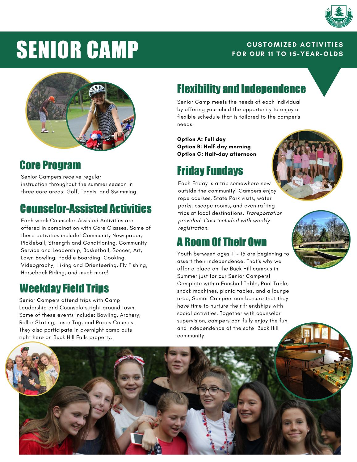 2019 Senior Camp Information and Prices by Buck Hill Falls - issuu