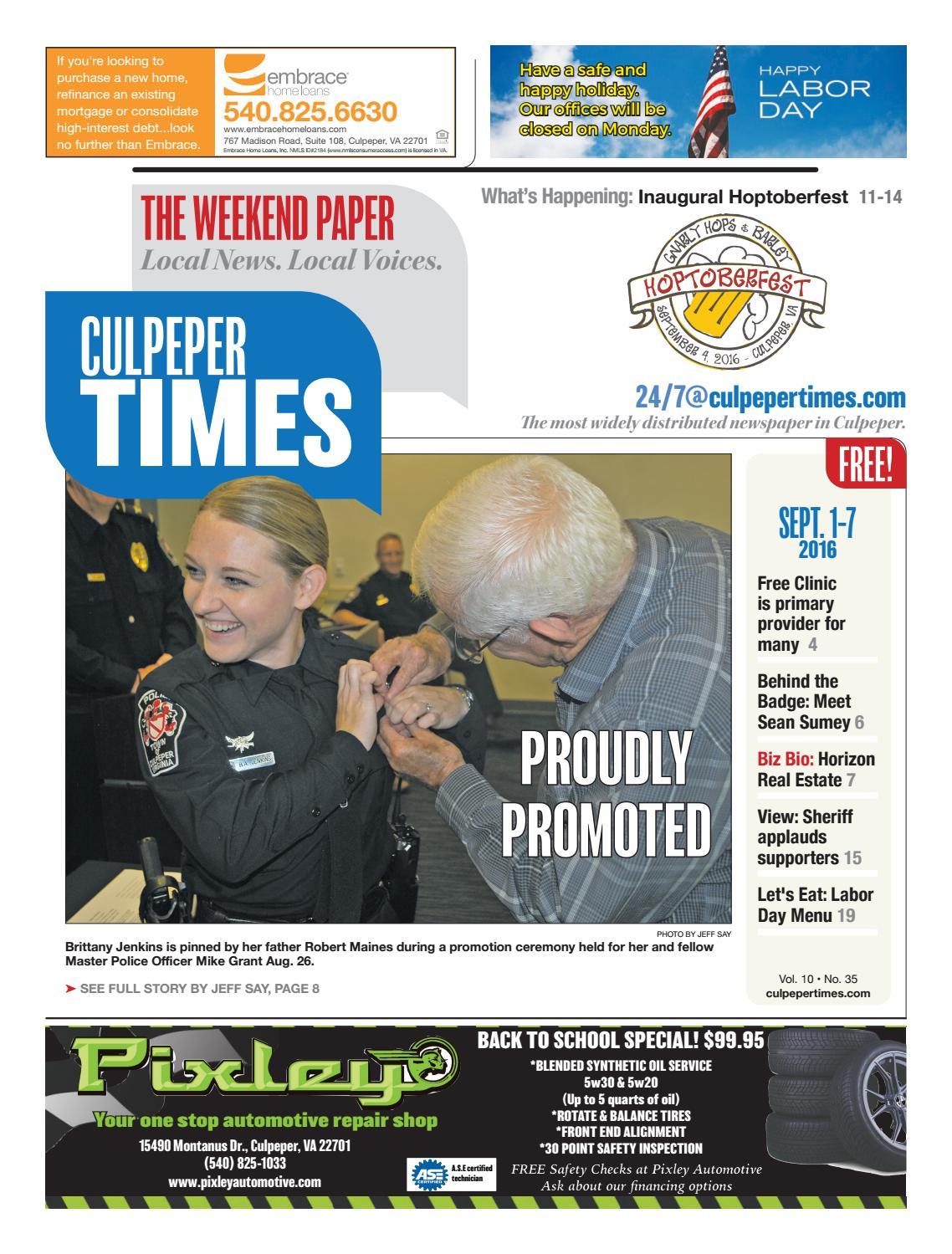 September 1st, 2016 -- Culpeper Times by InsideNoVa - issuu
