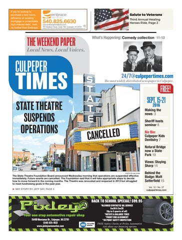September 15th, 2016 -- Culpeper Times by InsideNoVa - issuu