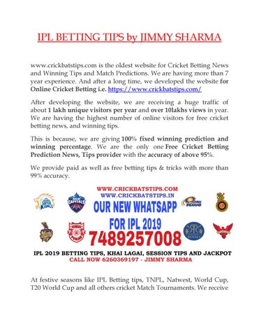 IPL BETTING TIPS BY JIMMY SHARMA by Jimmy Sharma - issuu