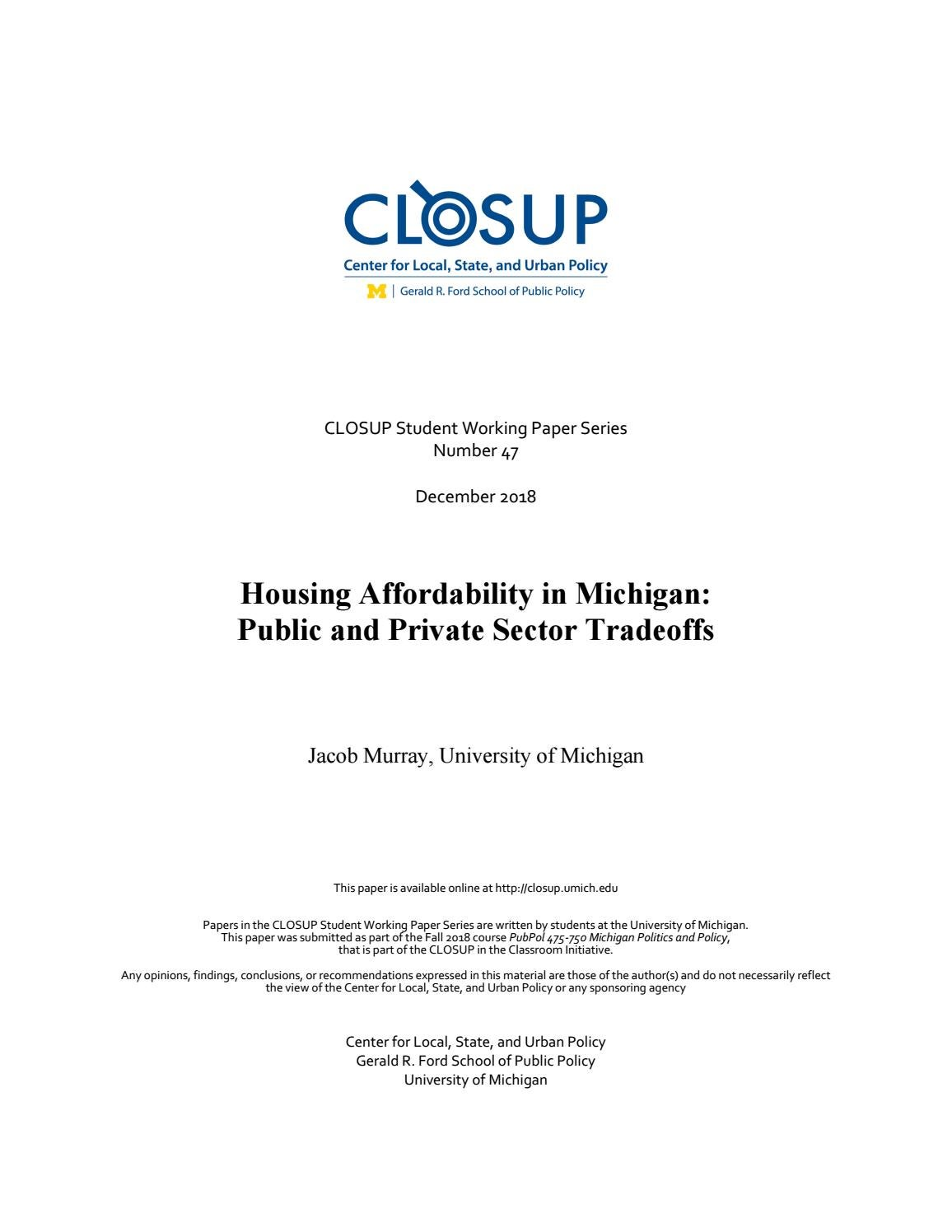 Housing Affordability in Michigan: Public and Private Sector