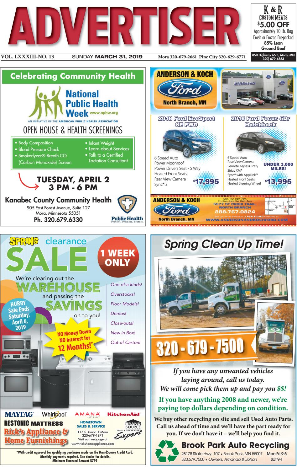 Mora Advertiser 33119 by Kanabec County Times/Pine City