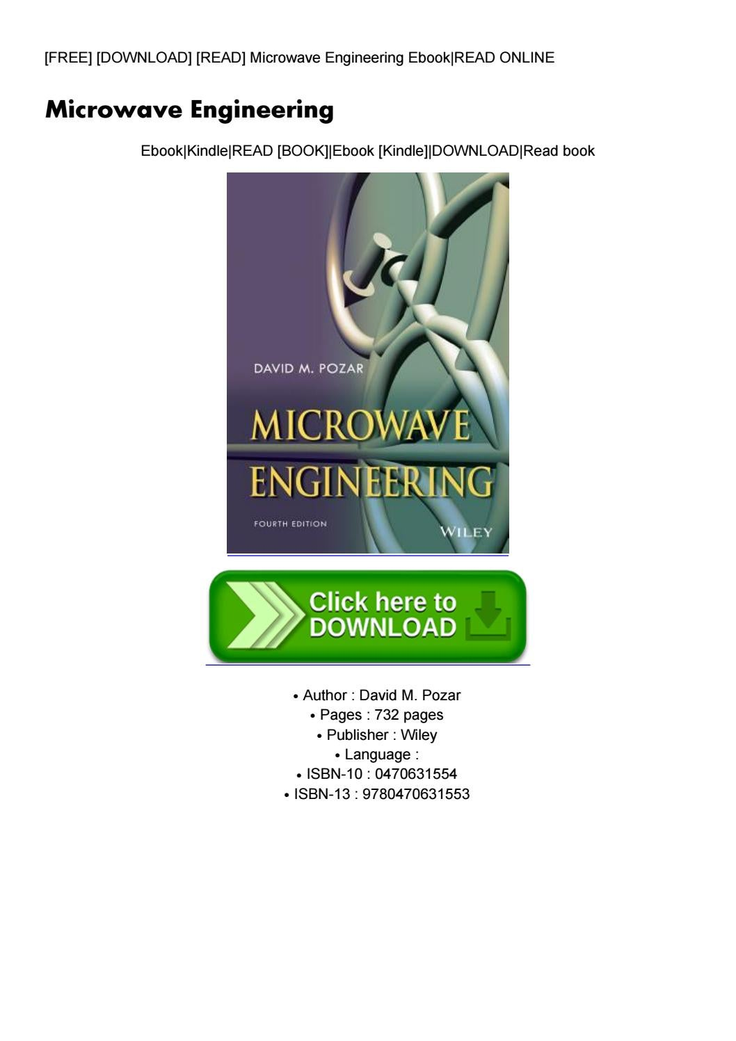 Download in [pdf] microwave engineering by david m. Pozar (paperback).