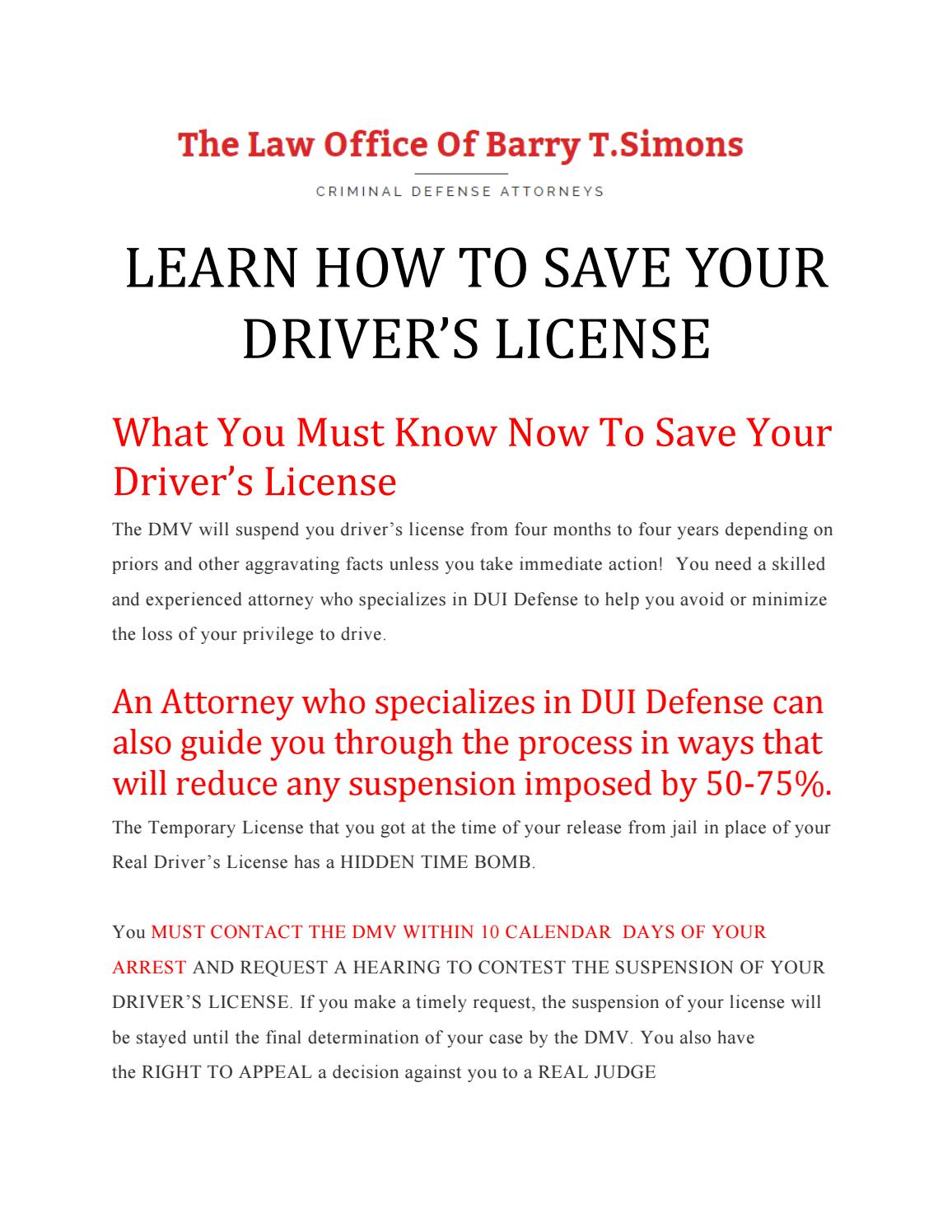 LEARN HOW TO SAVE YOUR DRIVER'S LICENSE by